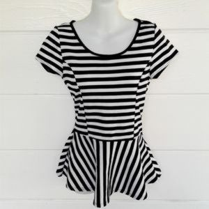 White Black Striped Peplum Top Cap Sleeves Medium